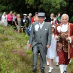 The procession leads up to the Knill Steeple