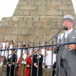 The ceremony at the base of the Knill Steeple