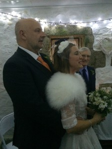 Bride and groom inside Chapel