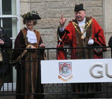 Mayor and Deputy Mayor on the Guildhall balcony