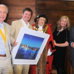 Mr S Taylor (Mayor's Consort), Glyn Macey (artist), Councillor Linda Taylor (Town Mayor), Karyn Philippsen (Chairman of the Board for Visit Laguna Beach and President of the Laguna Beach Sister Cities Association), Councillor Ron Tulley (town councillor and Mayor in 2012 when the first approach was made to St Ives).