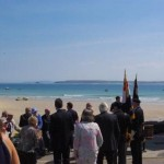 A crowd gathers at Westcotts Quay, before the unveiling ceremony