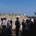 St Ives Harbour forming a stunning backdrop to the unveiling event