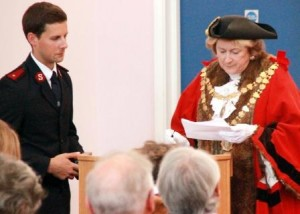 Mayor, Councillor Linda Taylor and Lieutenant Mark Read. Photo by Tobi Carver, St Ives Times & Echo