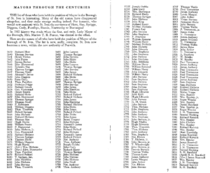 St Ives Mayors from 1639 to 1860