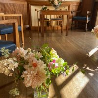 Wedding flowers in the mayors parlour