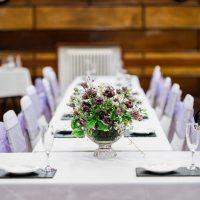 Tables set out for a wedding in the Guildhall